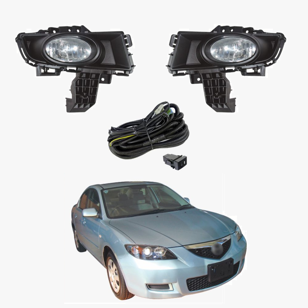 OEM Style Complete Fog Light Kit Fits Mazda 3 Sedan BK Series 2 2007 2008   MZ257