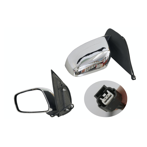 Door mirror for Nissan Navara D40 2005-2015 Chrome Electric 13CM-LEFT